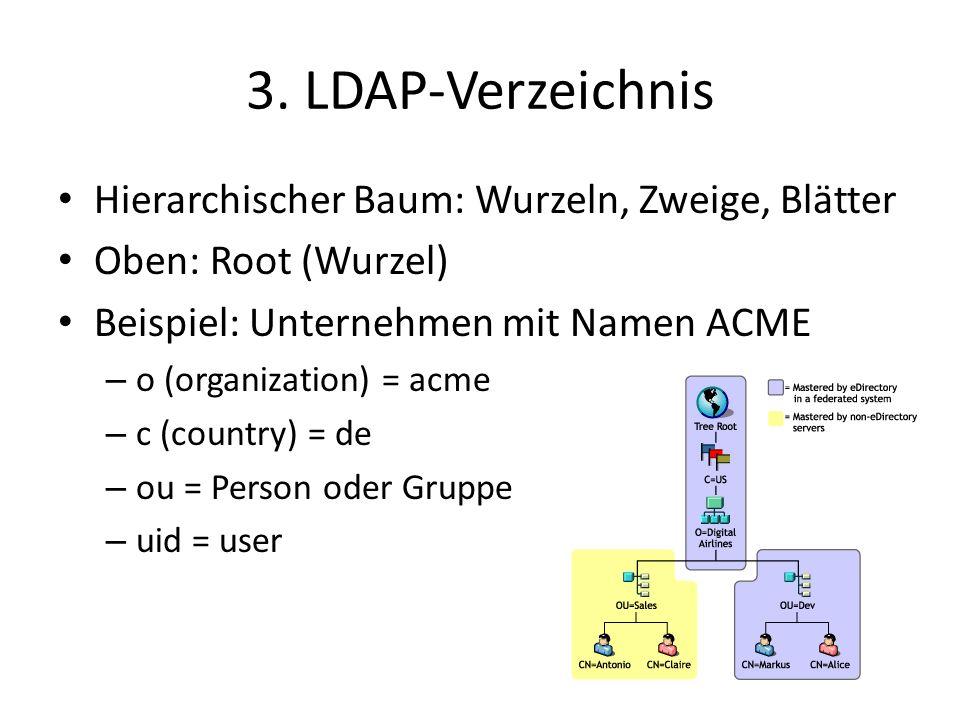 3. LDAP-Verzeichnis Hierarchischer Baum: Wurzeln, Zweige, Blätter Oben: Root (Wurzel) Beispiel: Unternehmen mit Namen ACME – o (organization) = acme –