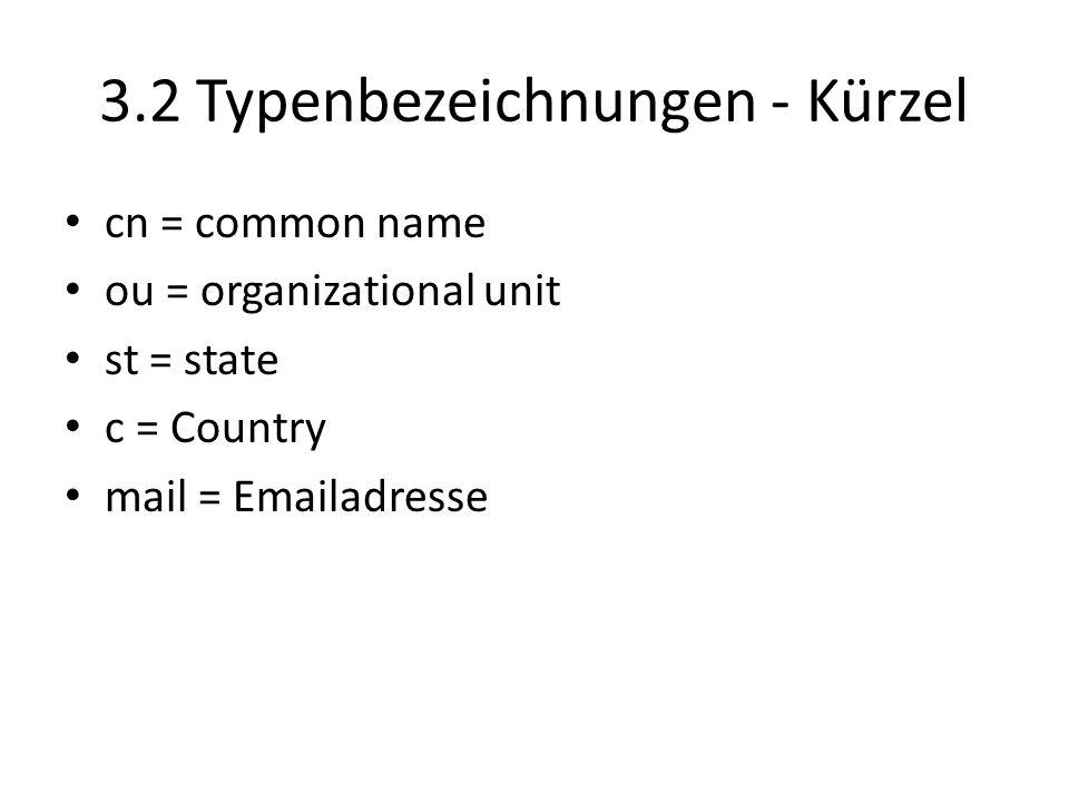 3.2 Typenbezeichnungen - Kürzel cn = common name ou = organizational unit st = state c = Country mail = Emailadresse
