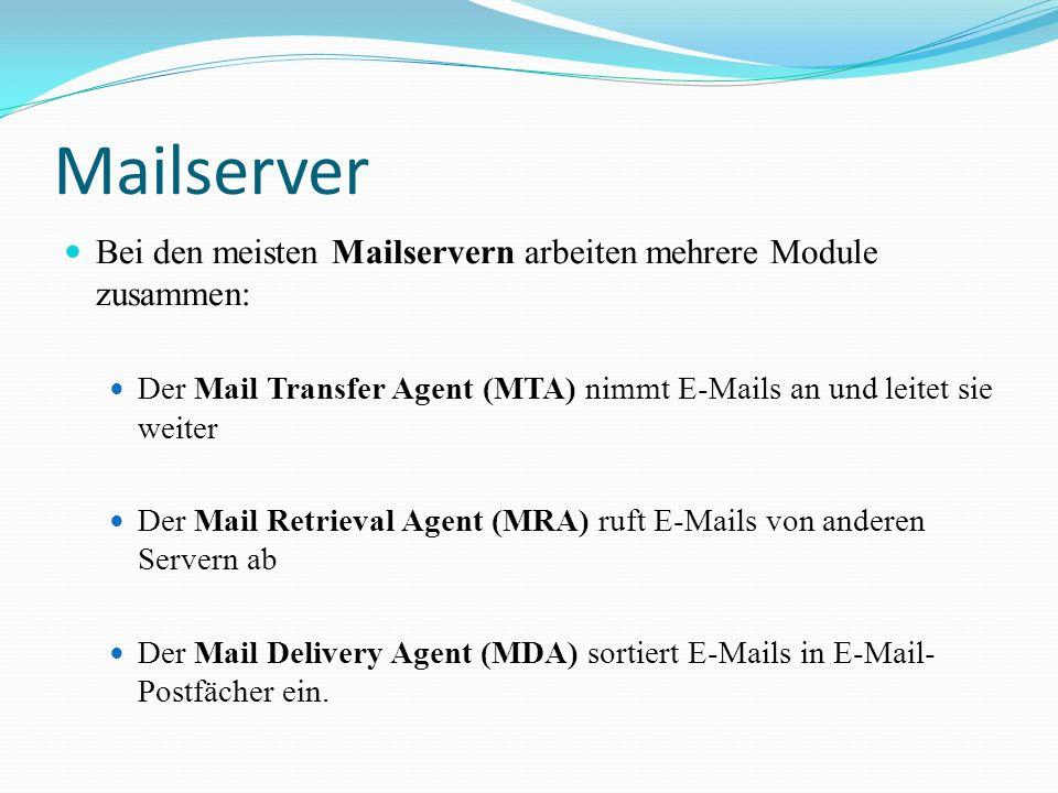 Mailserver Bei den meisten Mailservern arbeiten mehrere Module zusammen: Der Mail Transfer Agent (MTA) nimmt E-Mails an und leitet sie weiter Der Mail