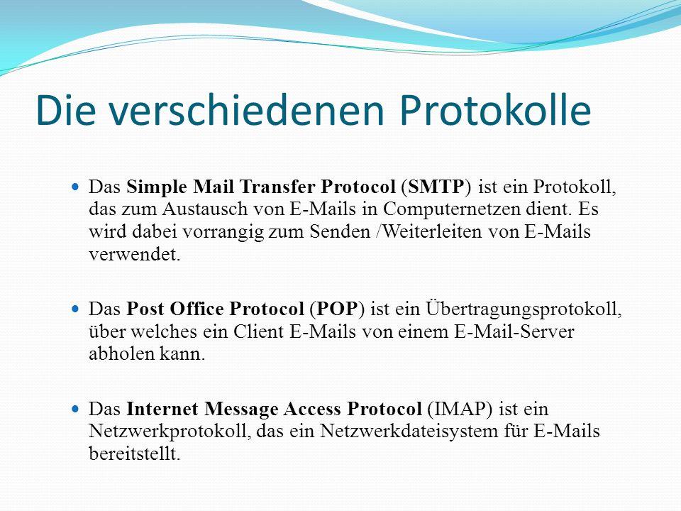 Die verschiedenen Protokolle Das Simple Mail Transfer Protocol (SMTP) ist ein Protokoll, das zum Austausch von E-Mails in Computernetzen dient. Es wir