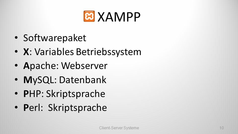 XAMPP Softwarepaket X: Variables Betriebssystem Apache: Webserver MySQL: Datenbank PHP: Skriptsprache Perl: Skriptsprache Client-Server Systeme10