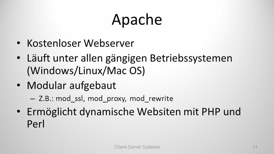 Apache Kostenloser Webserver Läuft unter allen gängigen Betriebssystemen (Windows/Linux/Mac OS) Modular aufgebaut – Z.B.: mod_ssl, mod_proxy, mod_rewrite Ermöglicht dynamische Websiten mit PHP und Perl Client-Server Systeme11