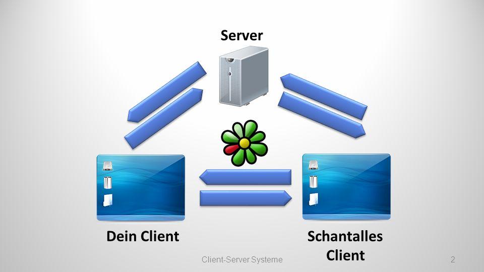 Aufgaben eines Servers Login bei ICQ Webserver: Webseiten bereitstellen Fileserver: Dateien anbieten Gameserver und viele mehr… Client-Server Systeme3