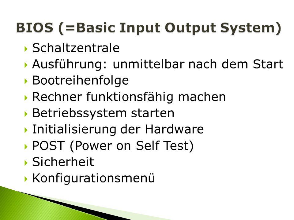 Schaltzentrale Ausführung: unmittelbar nach dem Start Bootreihenfolge Rechner funktionsfähig machen Betriebssystem starten Initialisierung der Hardwar