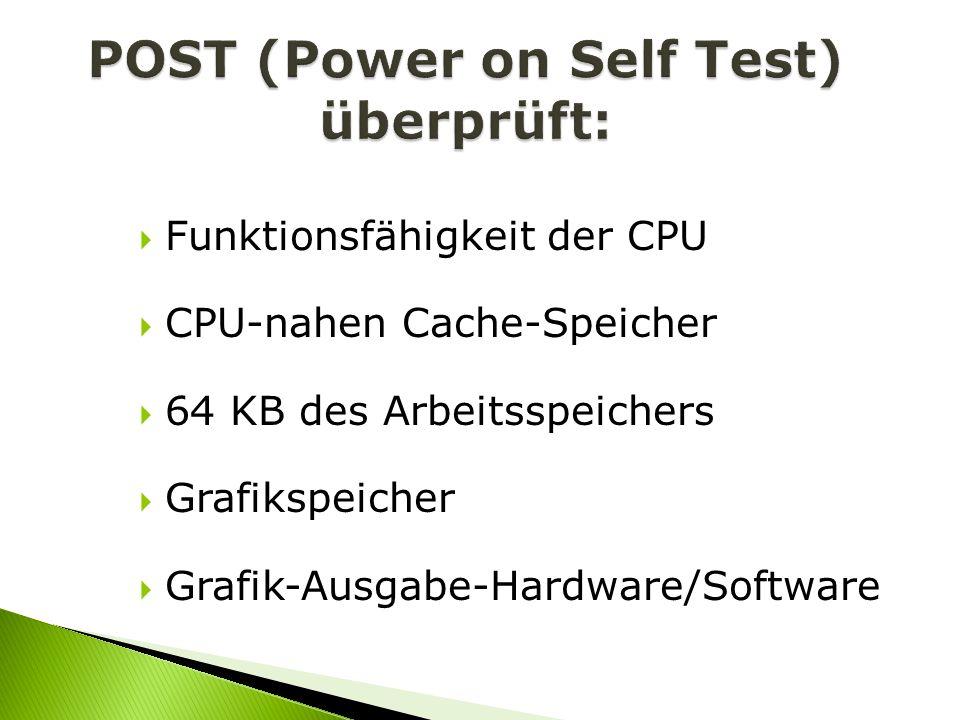 Funktionsfähigkeit der CPU CPU-nahen Cache-Speicher 64 KB des Arbeitsspeichers Grafikspeicher Grafik-Ausgabe-Hardware/Software