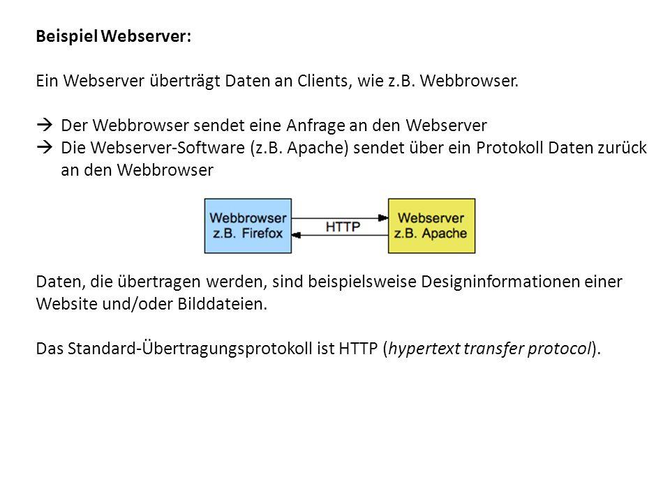 Beispiel Webserver: Ein Webserver überträgt Daten an Clients, wie z.B. Webbrowser. Der Webbrowser sendet eine Anfrage an den Webserver Die Webserver-S