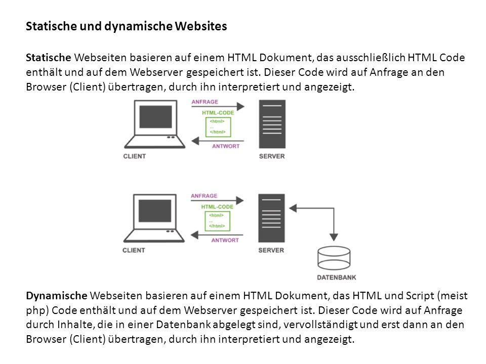 Statische und dynamische Websites Statische Webseiten basieren auf einem HTML Dokument, das ausschließlich HTML Code enthält und auf dem Webserver ges