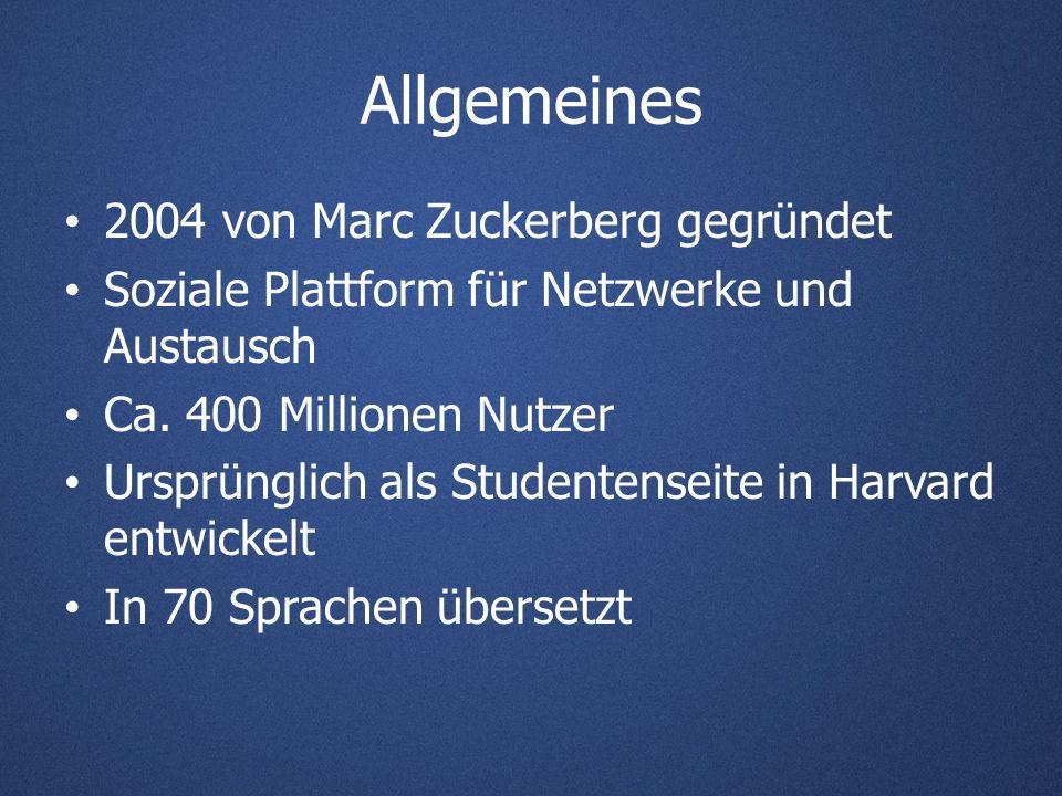 Allgemeines 2004 von Marc Zuckerberg gegründet Soziale Plattform für Netzwerke und Austausch Ca.
