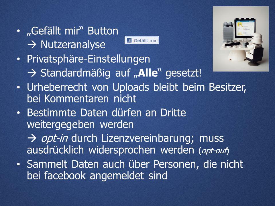 Gefällt mir Button Nutzeranalyse Privatsphäre-Einstellungen Standardmäßig auf Alle gesetzt.