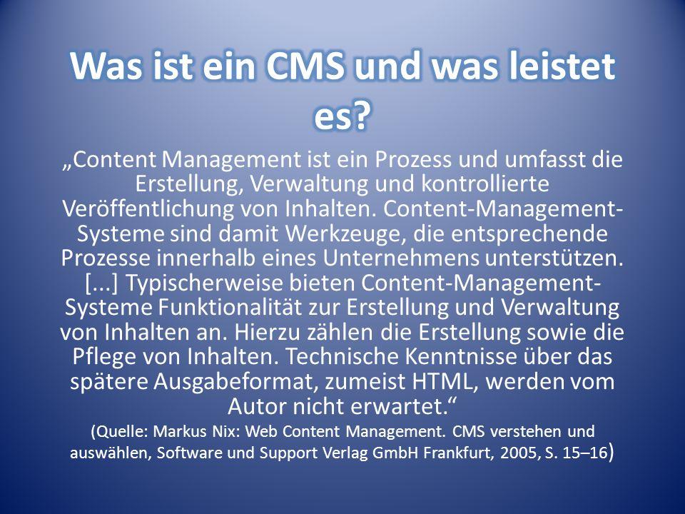 Content Management ist ein Prozess und umfasst die Erstellung, Verwaltung und kontrollierte Veröffentlichung von Inhalten.