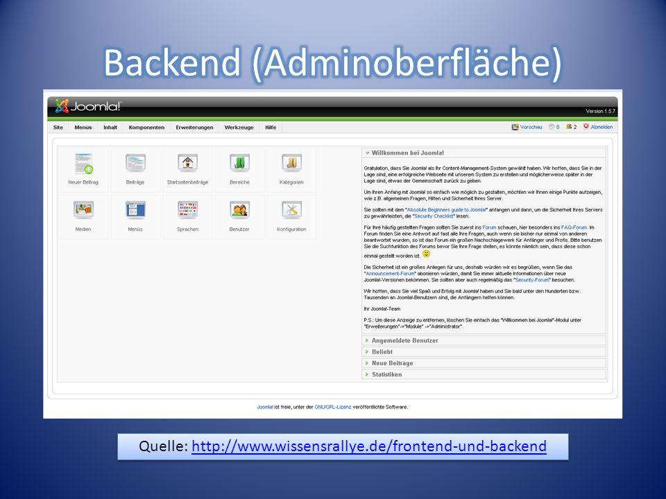 Backend (Adminoberfläche) enthält verschiedene Bereiche (=Module), mit denen es möglich ist, das Frontend zu verwalten.