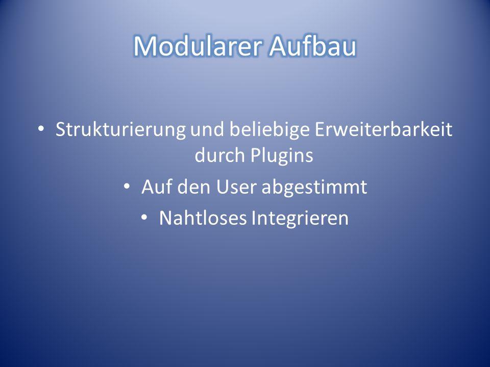 Strukturierung und beliebige Erweiterbarkeit durch Plugins Auf den User abgestimmt Nahtloses Integrieren