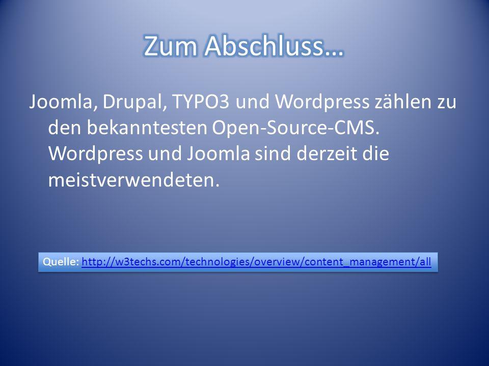 Joomla, Drupal, TYPO3 und Wordpress zählen zu den bekanntesten Open-Source-CMS.