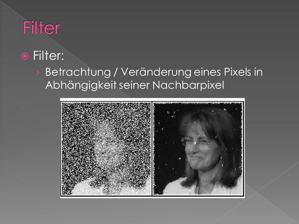 Filter: Betrachtung / Veränderung eines Pixels in Abhängigkeit seiner Nachbarpixel