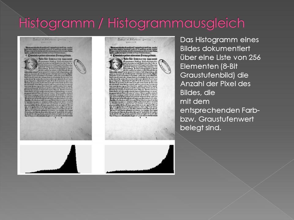 Das Histogramm eines Bildes dokumentiert über eine Liste von 256 Elementen (8-Bit Graustufenbild) die Anzahl der Pixel des Bildes, die mit dem entsprechenden Farb- bzw.