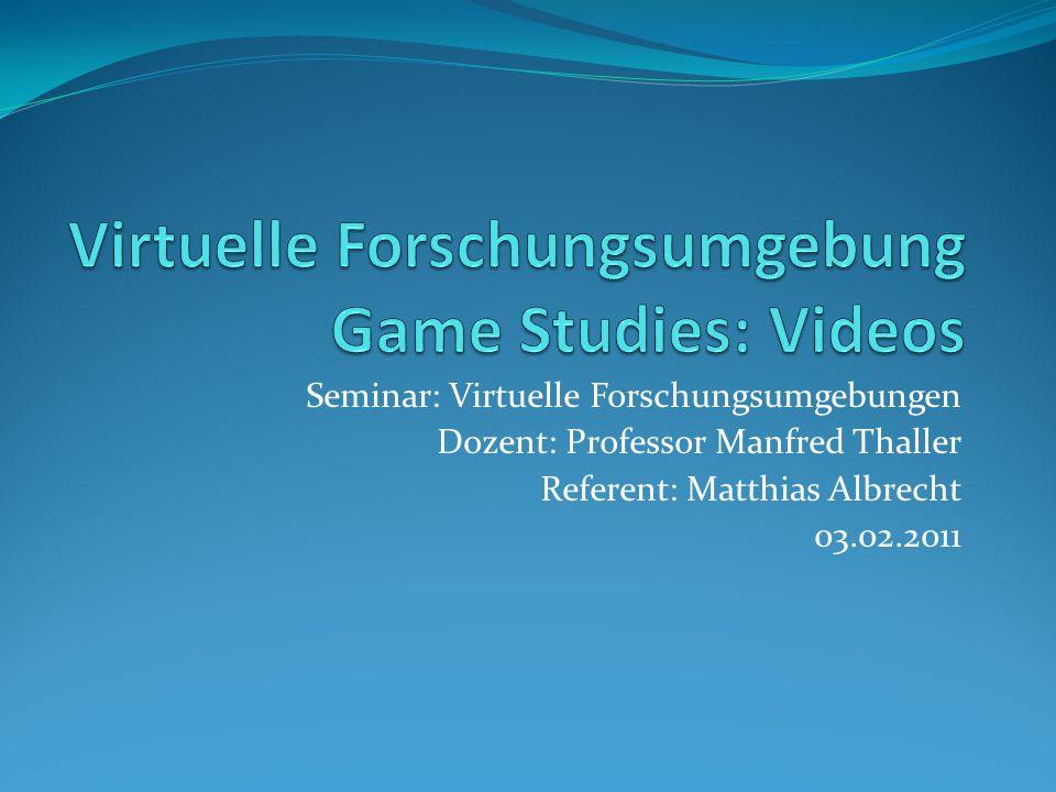 Seminar: Virtuelle Forschungsumgebungen Dozent: Professor Manfred Thaller Referent: Matthias Albrecht 03.02.2011