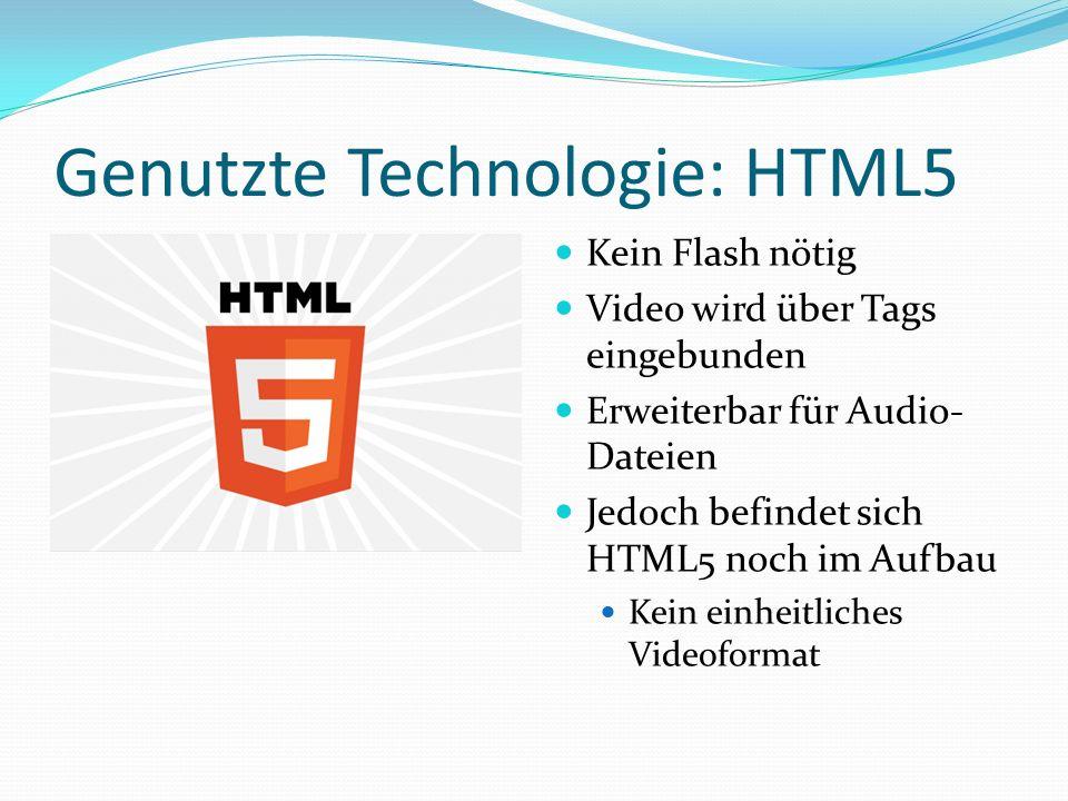Genutzte Technologie: HTML5 Kein Flash nötig Video wird über Tags eingebunden Erweiterbar für Audio- Dateien Jedoch befindet sich HTML5 noch im Aufbau Kein einheitliches Videoformat