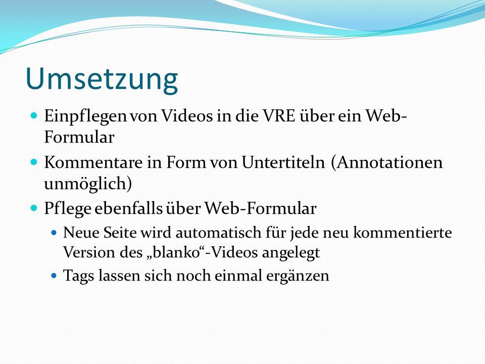 Umsetzung Einpflegen von Videos in die VRE über ein Web- Formular Kommentare in Form von Untertiteln (Annotationen unmöglich) Pflege ebenfalls über Web-Formular Neue Seite wird automatisch für jede neu kommentierte Version des blanko-Videos angelegt Tags lassen sich noch einmal ergänzen