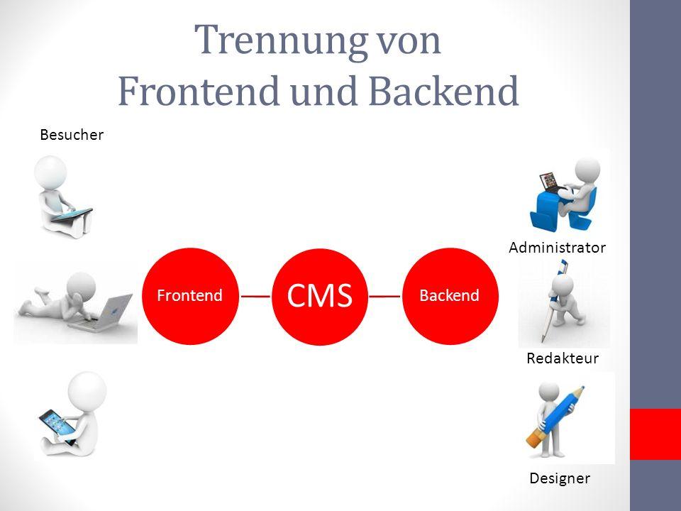 Trennung von Frontend und Backend CMS BackendFrontend Designer Administrator Redakteur Besucher