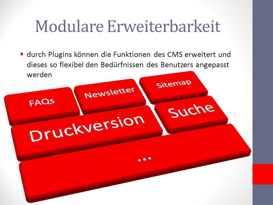 Modulare Erweiterbarkeit durch Plugins können die Funktionen des CMS erweitert und dieses so flexibel den Bedürfnissen des Benutzers angepasst werden
