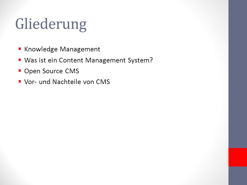 Gliederung Knowledge Management Was ist ein Content Management System? Open Source CMS Vor- und Nachteile von CMS