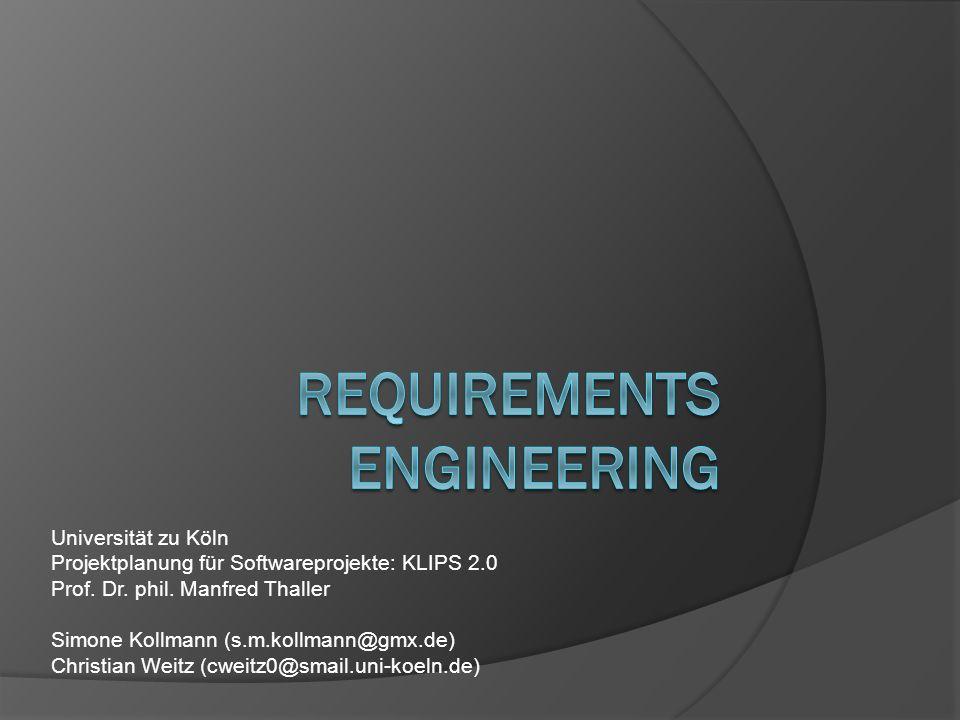 Universität zu Köln Projektplanung für Softwareprojekte: KLIPS 2.0 Prof. Dr. phil. Manfred Thaller Simone Kollmann (s.m.kollmann@gmx.de) Christian Wei