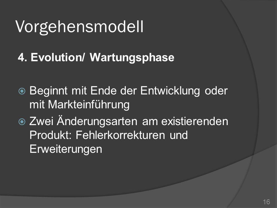 Vorgehensmodell 4. Evolution/ Wartungsphase Beginnt mit Ende der Entwicklung oder mit Markteinführung Zwei Änderungsarten am existierenden Produkt: Fe