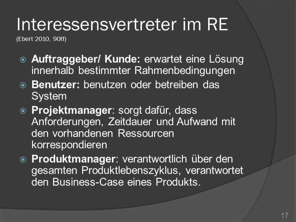 Interessensvertreter im RE (Ebert 2010, 90ff) Auftraggeber/ Kunde: erwartet eine Lösung innerhalb bestimmter Rahmenbedingungen Benutzer: benutzen oder