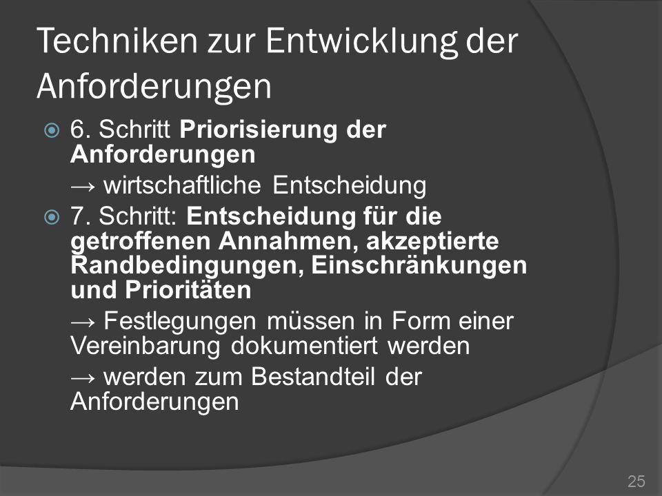 Techniken zur Entwicklung der Anforderungen 6. Schritt Priorisierung der Anforderungen wirtschaftliche Entscheidung 7. Schritt: Entscheidung für die g