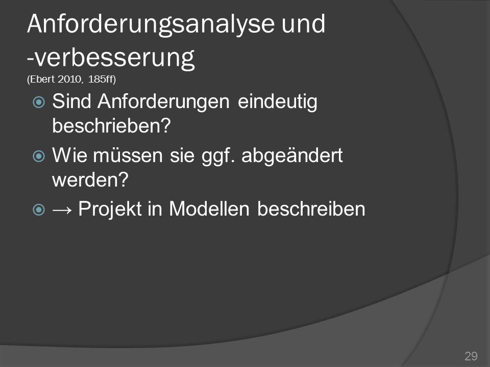 Anforderungsanalyse und -verbesserung (Ebert 2010, 185ff) Sind Anforderungen eindeutig beschrieben? Wie müssen sie ggf. abgeändert werden? Projekt in