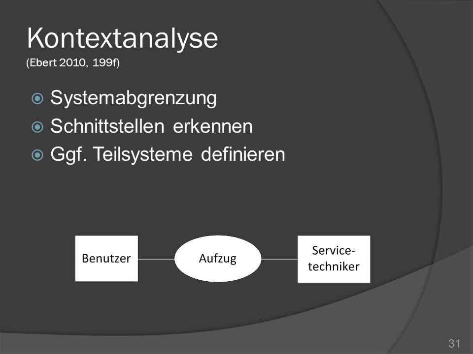 Kontextanalyse (Ebert 2010, 199f) Systemabgrenzung Schnittstellen erkennen Ggf. Teilsysteme definieren 31