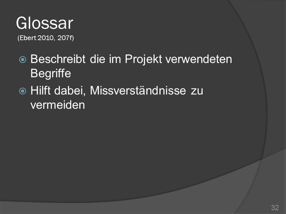 Glossar (Ebert 2010, 207f) Beschreibt die im Projekt verwendeten Begriffe Hilft dabei, Missverständnisse zu vermeiden 32