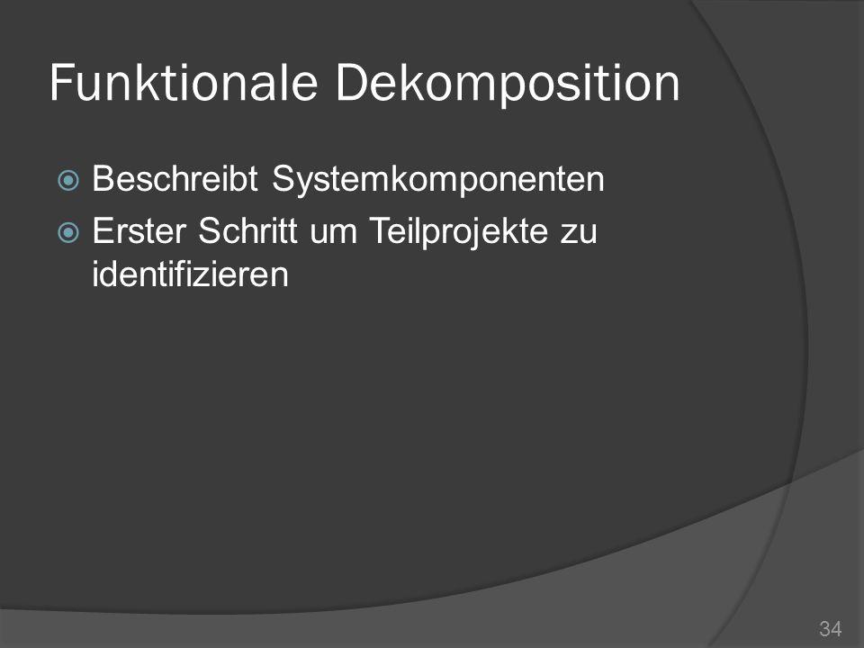 Funktionale Dekomposition Beschreibt Systemkomponenten Erster Schritt um Teilprojekte zu identifizieren 34
