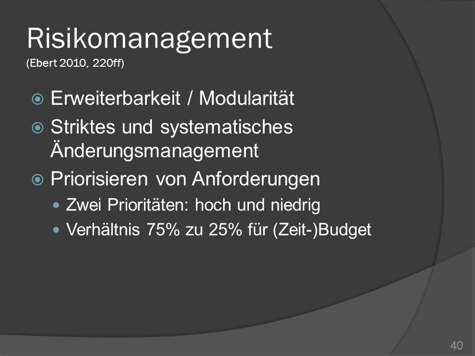 Risikomanagement (Ebert 2010, 220ff) Erweiterbarkeit / Modularität Striktes und systematisches Änderungsmanagement Priorisieren von Anforderungen Zwei