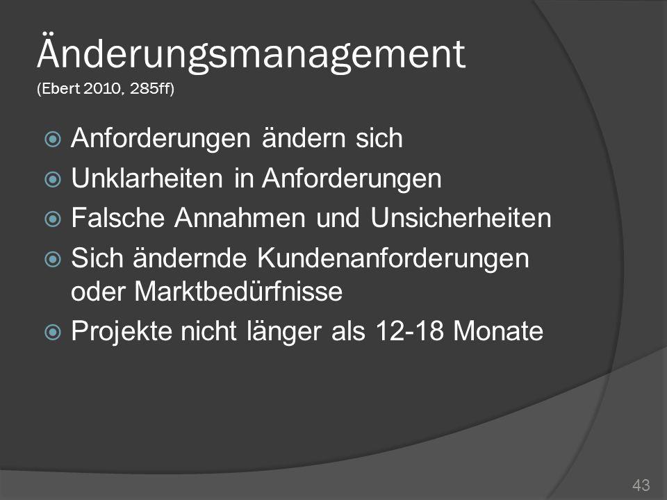 Änderungsmanagement (Ebert 2010, 285ff) Anforderungen ändern sich Unklarheiten in Anforderungen Falsche Annahmen und Unsicherheiten Sich ändernde Kund