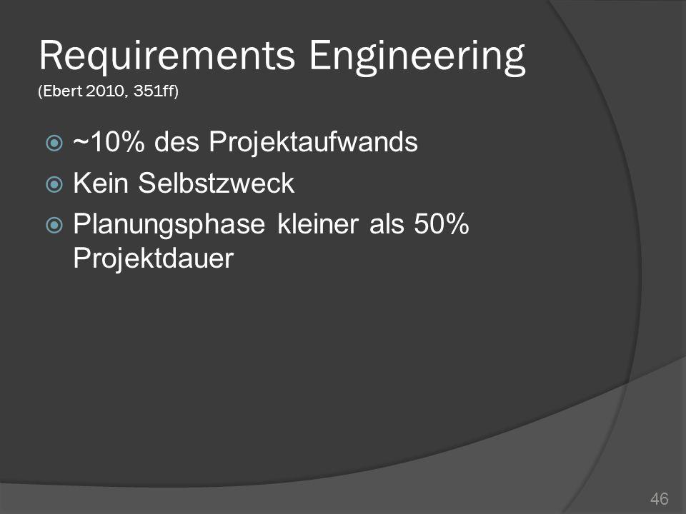 Requirements Engineering (Ebert 2010, 351ff) ~10% des Projektaufwands Kein Selbstzweck Planungsphase kleiner als 50% Projektdauer 46