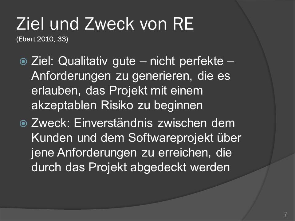 Ziel und Zweck von RE (Ebert 2010, 33) Ziel: Qualitativ gute – nicht perfekte – Anforderungen zu generieren, die es erlauben, das Projekt mit einem ak