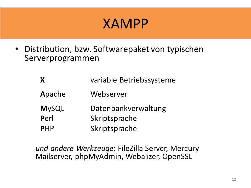 Distribution, bzw. Softwarepaket von typischen Serverprogrammen X variable Betriebssysteme Apache Webserver MySQL Datenbankverwaltung Perl Skriptsprac