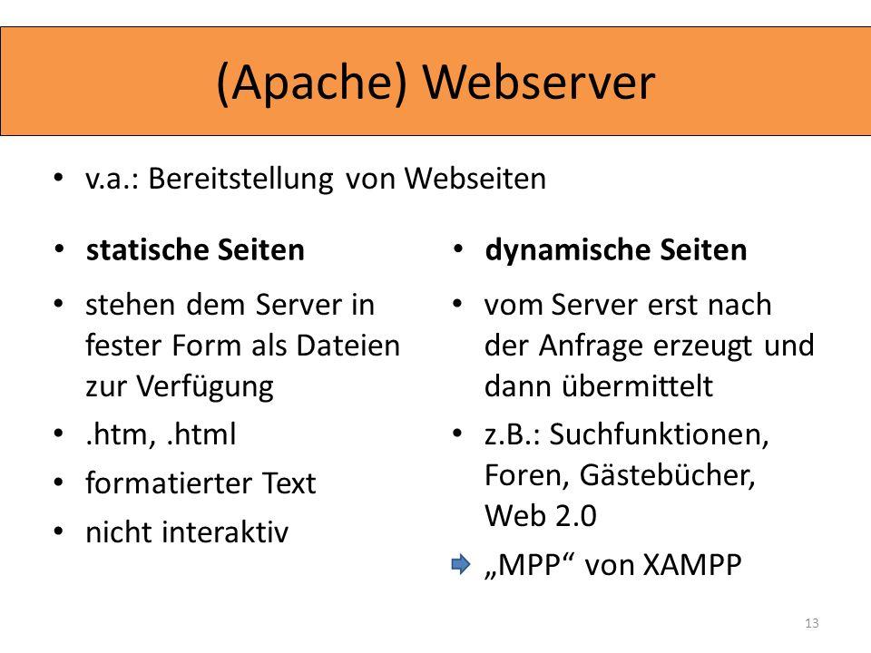 (Apache) Webserver v.a.: Bereitstellung von Webseiten stehen dem Server in fester Form als Dateien zur Verfügung.htm,.html formatierter Text nicht int