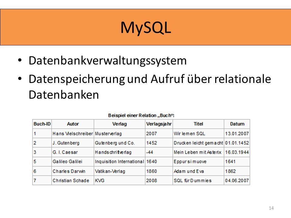 Datenbankverwaltungssystem Datenspeicherung und Aufruf über relationale Datenbanken 14 MySQL