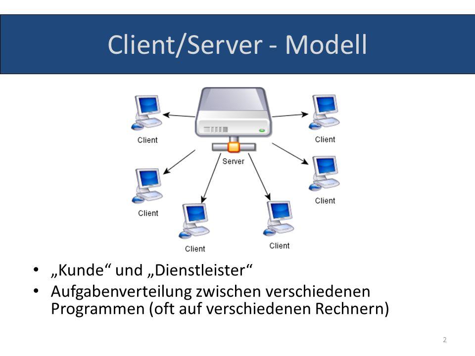Client/Server - Modell Kunde und Dienstleister Aufgabenverteilung zwischen verschiedenen Programmen (oft auf verschiedenen Rechnern) 2