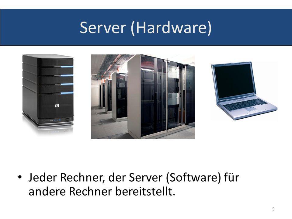 Server (Hardware) Jeder Rechner, der Server (Software) für andere Rechner bereitstellt. 5
