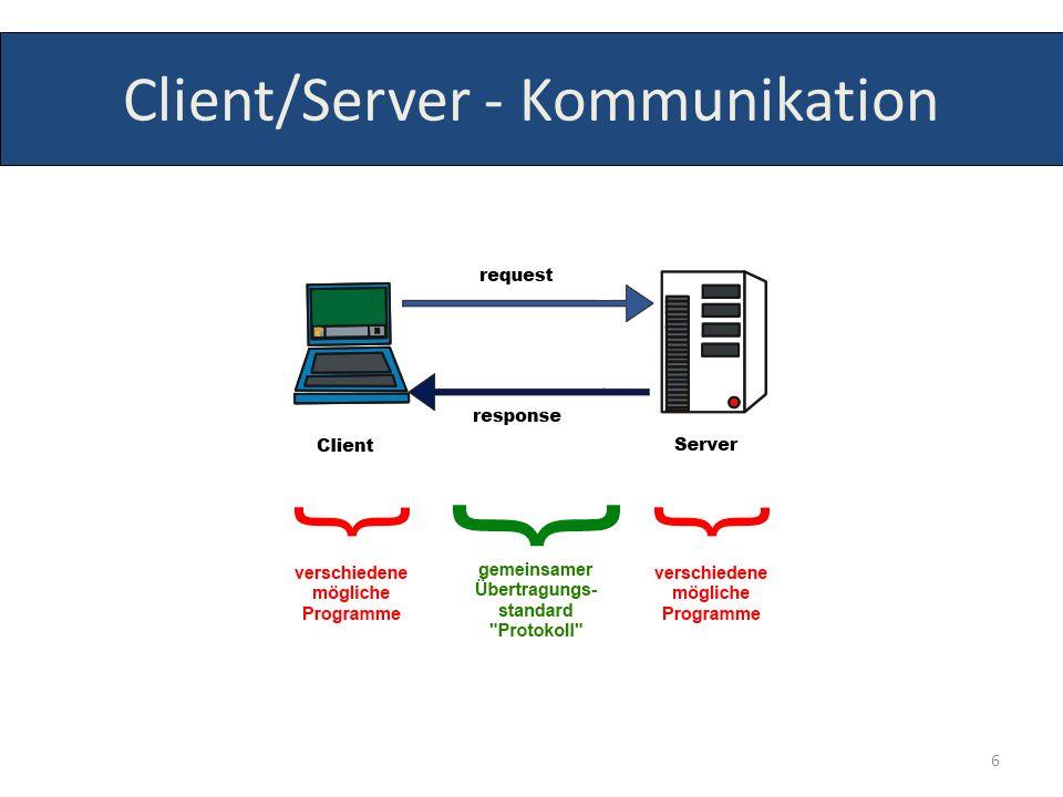 stellen Verständigung zwischen Client und Server sicher Regelwerk oder gemeinsame Sprache für verschiedene Programme Webbrowser – Webserver: HTTP, HTTPS Mailclient – Mailserver: SMTP, POP3, IMAP FTP-Client – Fileserver: FTP, SFTP Chatsoftware – Chatserver: IRC 7 Protokolle