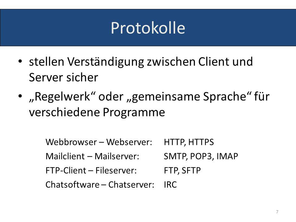 stellen Verständigung zwischen Client und Server sicher Regelwerk oder gemeinsame Sprache für verschiedene Programme Webbrowser – Webserver: HTTP, HTT