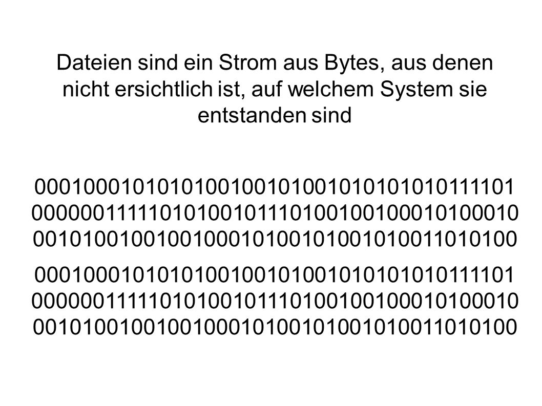 Dateien sind ein Strom aus Bytes, aus denen nicht ersichtlich ist, auf welchem System sie entstanden sind 0001000101010100100101001010101010111101 00000011111010100101110100100100010100010 0010100100100100010100101001010011010100