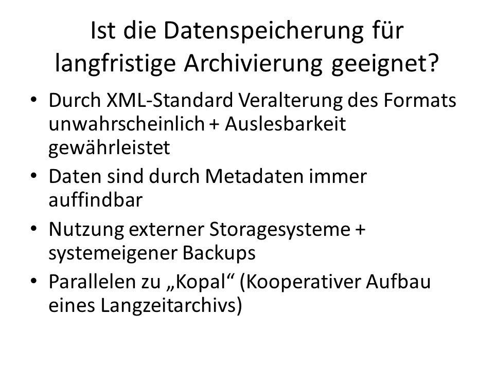 Ist die Datenspeicherung für langfristige Archivierung geeignet.