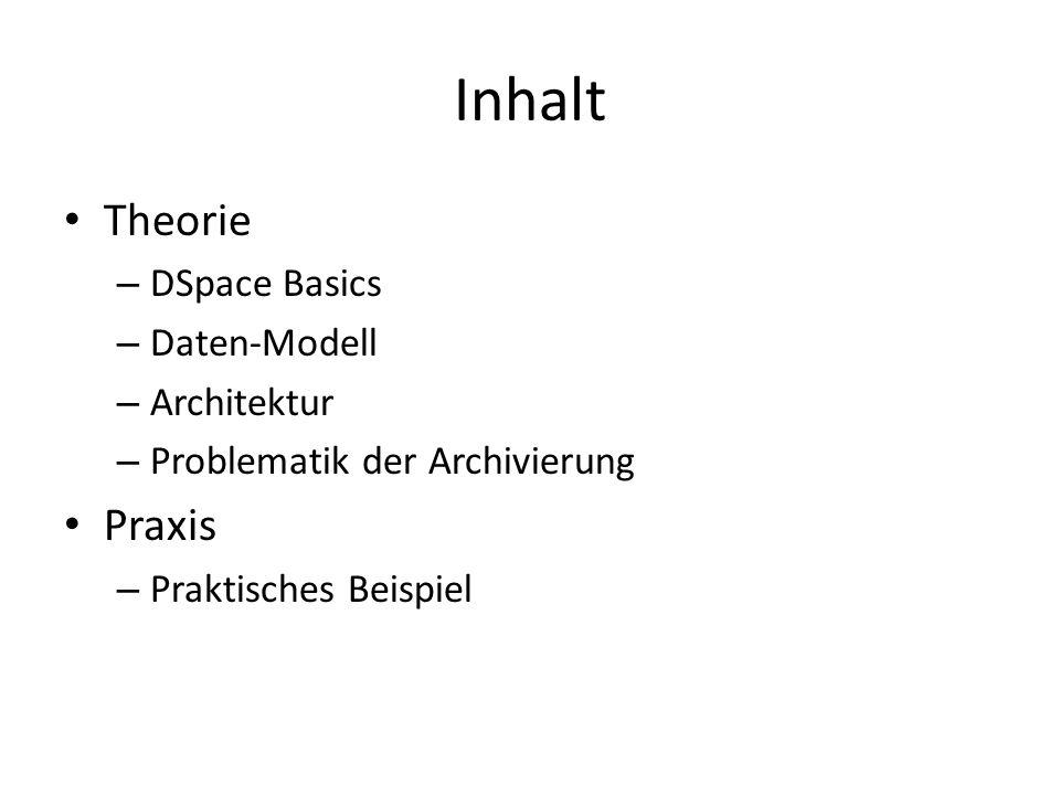 Inhalt Theorie – DSpace Basics – Daten-Modell – Architektur – Problematik der Archivierung Praxis – Praktisches Beispiel