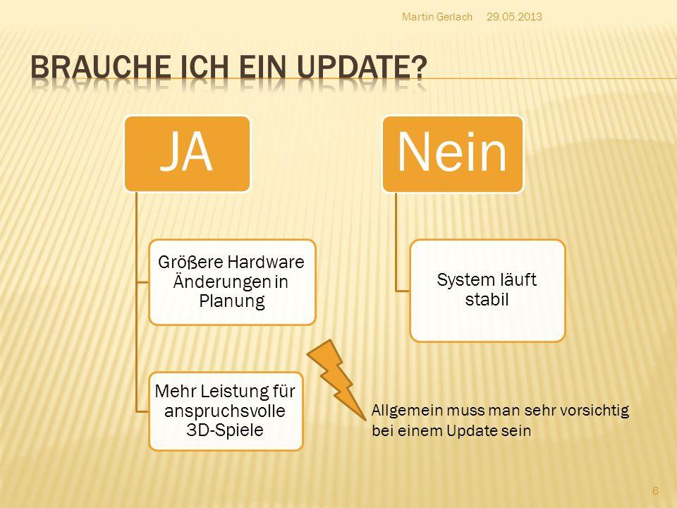 JA Größere Hardware Änderungen in Planung Mehr Leistung für anspruchsvolle 3D-Spiele Nein System läuft stabil 29.05.2013Martin Gerlach 6 Allgemein mus