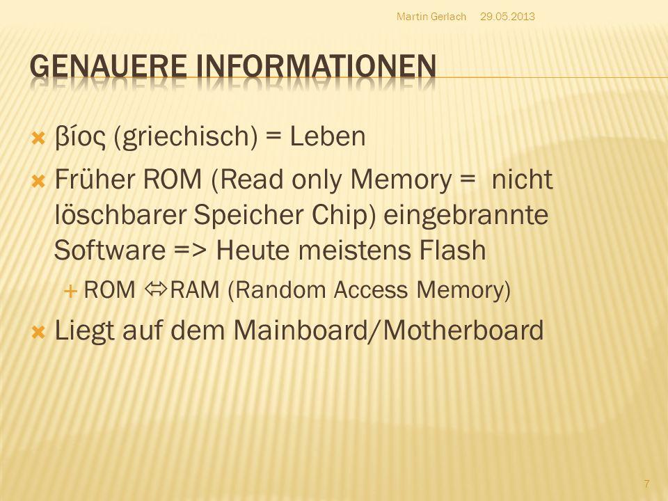 βίος (griechisch) = Leben Früher ROM (Read only Memory = nicht löschbarer Speicher Chip) eingebrannte Software => Heute meistens Flash ROM RAM (Random