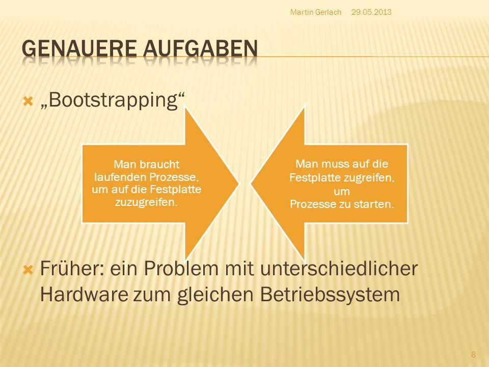 Bootstrapping Früher: ein Problem mit unterschiedlicher Hardware zum gleichen Betriebssystem 29.05.2013Martin Gerlach 8 Man braucht laufenden Prozesse